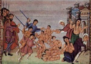 Der Kindermord zu Bethlehem aus dem Codex Egberti. 10. Jahrhundert