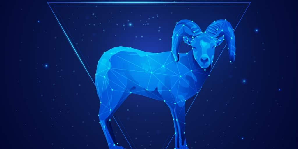 aries horoscope sign in twelve zodiac with galaxy stars background, graphic of wireframe sheep